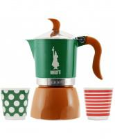 Moka konvice Bialetti Moka POP Fiammetta Green/Brown 3 šálky Promo Pack
