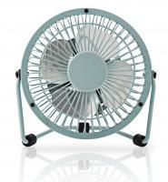 Stolní mini ventilátor kovový o průměru 10 cm + USB, Modrý