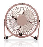 Stolní mini ventilátor kovový o průměru 10 cm + USB, Růžový