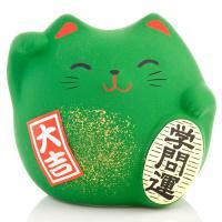 Japonská kočka štěstí Maneki Neko, zelená S