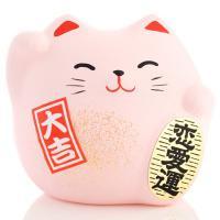 Japonská kočka štěstí Maneki Neko, růžová S