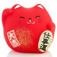 Japonská kočka štěstí Maneki Neko, červená S