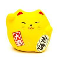 Japonská kočka štěstí Maneki Neko, žlutá S