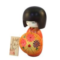 Japonská panenka Kokeshi Ameagari Orange 16 cm