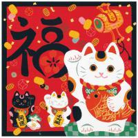 Japonský šátek Furoshiki 50 x 50 Maneki Neko