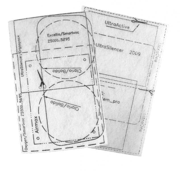 AEG Univerzální filtry pro vysavače AEG Viva Quickstop AVQ 2100 až 2190 2ks s nákresy